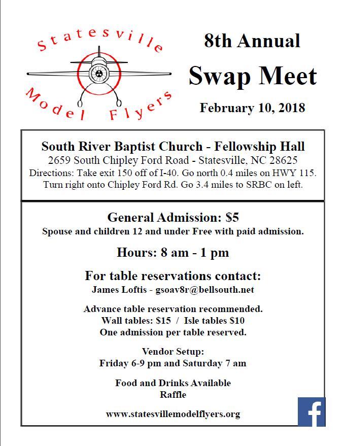 8th Annual SMF Swap Meet February 10, 2018 @ South River Baptist Church— Fellowship Hall | Statesville | North Carolina | United States