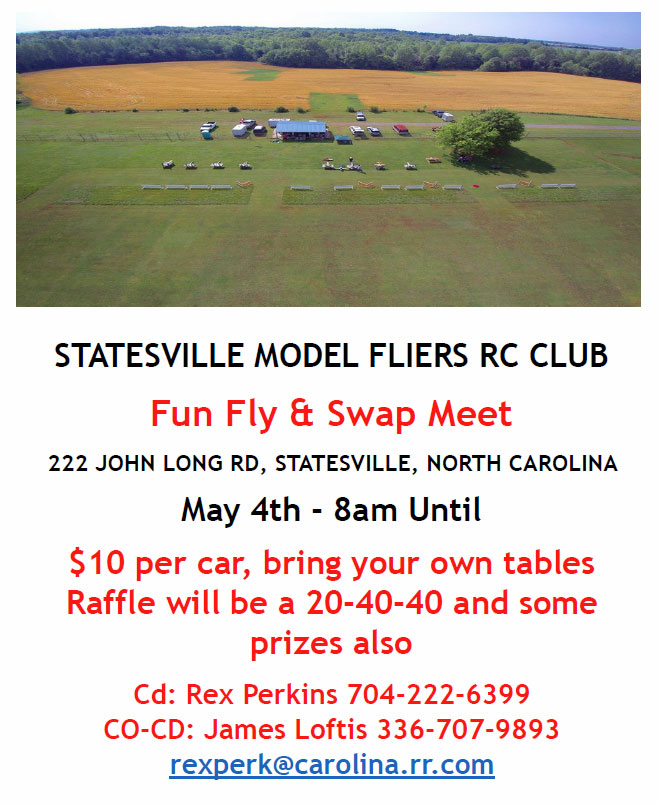 Swap Meet and Fly-in May 4, 2019 @ SMF Flying Field | Statesville | North Carolina | United States